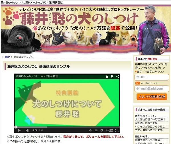 藤井聡の犬のしつけ方法を一部ですが無料メール講座で見られます